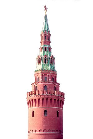 Water tower of Moscow Kremlin isolated on white background, Russia, Moscow.