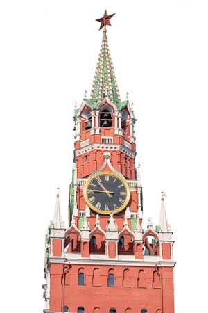 Spasskaya tower isolated on white background, Russia, Moscow.