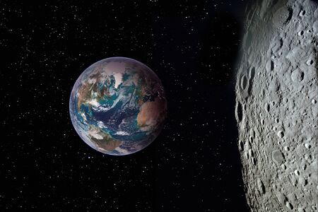 Moon surface and Earth on the horizon. Space art fantasy.