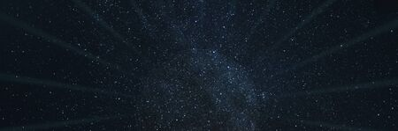 Black star hole with rays on a starry space panoramic sci-fi background. 写真素材