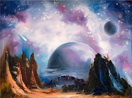 Außerirdische Landschaft des Weltraums, handgezeichnetes Ölgemälde. Standard-Bild
