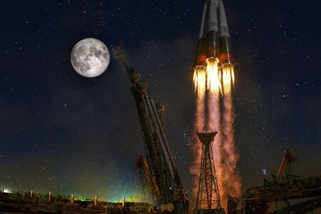 Space rocket launch earth spaceship moon.Space exploration program freight carrier vehicle.