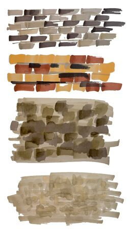 Set of hand drawn stone and brick wall marker sketch textures isolated on white.