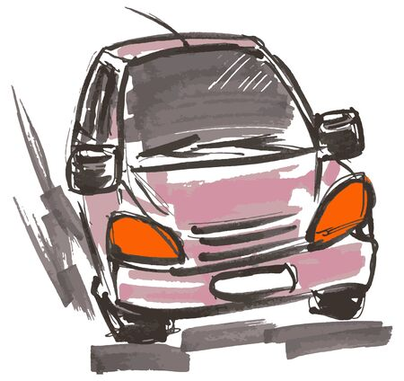 Car hand drawn marker sketch. Template for drawing аnd scetch eps10 vector illustraion. Banque d'images - 137865102