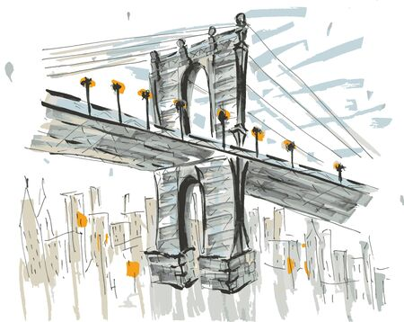 Brooklin brige, NYC, USA. Hand drawn marker sketch eps10 vector illustration. Vettoriali