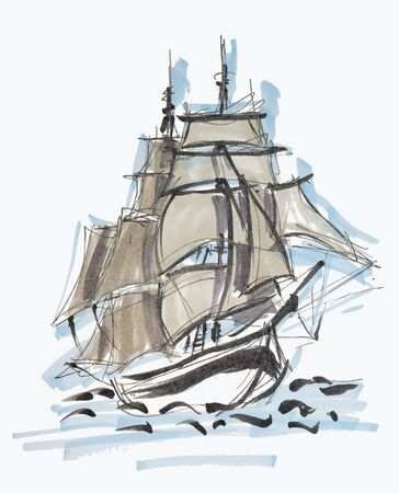 Sailboat hand drawn marker sketch isolated on white background eps10 vector illustration. Archivio Fotografico - 137370761