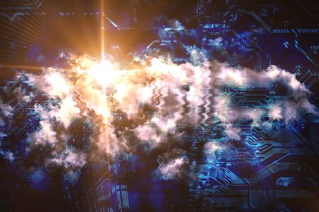 Quantum computing and cloud comluting concept. Abstract glowing electronic circuit with clouds and light flare. 3D rendered illustration.