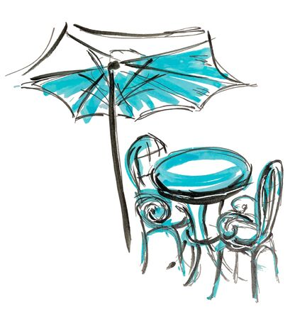 Bistro round table with open umbrella tent and two chairs hand drawn marker sketch vector illustration.
