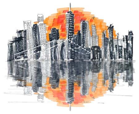 Famous Skyline of downtown New York, Brooklin Bridge and Manhattan at the early morning sun light , New York City, USA. Hand drawn marker sketch