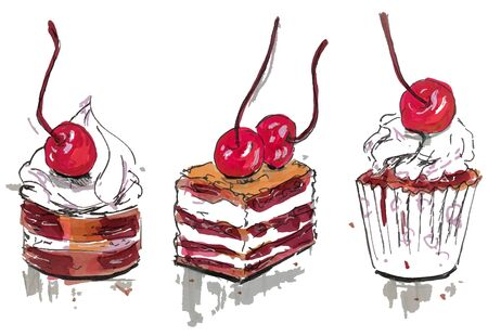 Set of three sweet tartlets with cherry, hand drawn marker sketch