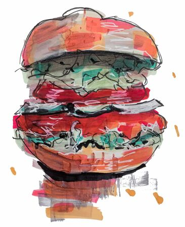 Hamburger, hand drawn marker sketch
