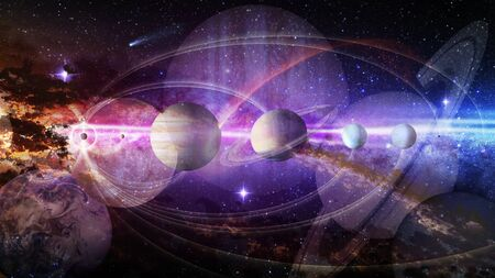 Dream  space concept. Collage  planets and galaxy in a starry sky.       . Banque d'images