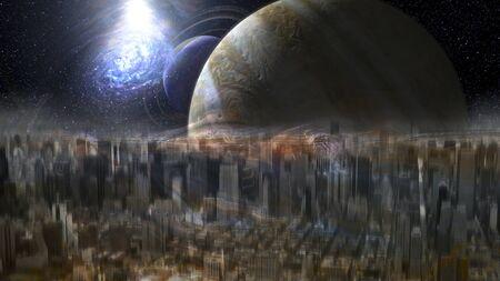 Ghostly, illusory city on an alien planet.       . 版權商用圖片