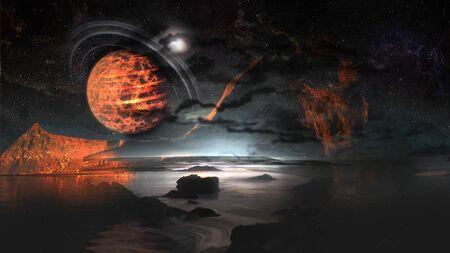 Alien planet  moons and mountains landscape.       .