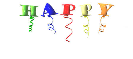 Happy typography design for greeting cards and poster with balloons. 3D rendering of a group of balloons form word happy.