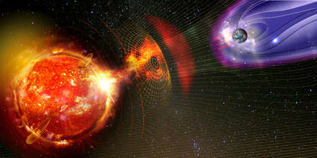 Earth's magnetic field against Sun's solar wind, flow of particles.