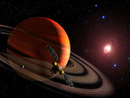 Spaceship on orbit of the Saturn planet. Exploration of the space. Sci-fi wallpaper. Stockfoto