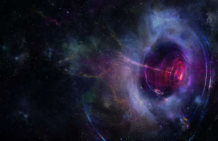 Abstract space wallpaper. Black hole with lighn ray and nebula over colorful stars with cloud fields in outer space.