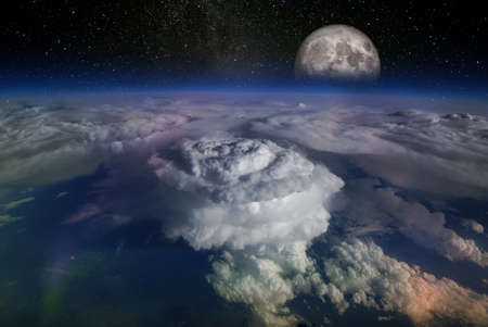 Landscape from space, with huge hurricane birth clouds and starry sky and moonrise.