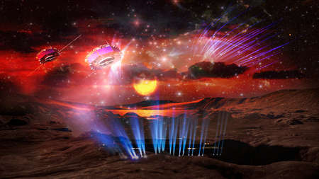 Amazing fantastic background - extraterrestrial aliens spaceship ufo fly above spotlights.