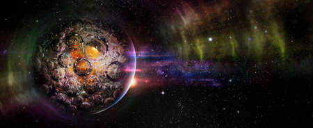 Planet with bubble shaped craters in outer space with light waves.