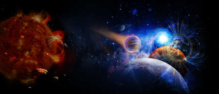 Panoramic view of planets in distant solar system in space.