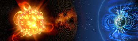 Earth's magnetic field, the Earth, the sun and solar wind, the flow of particles. Stockfoto