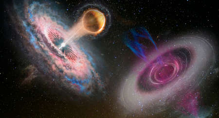 Futuristic sci-fi landscape of two black holes system in open space.