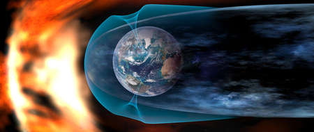 Protect the Earth from solar wind, solar wind colliding with earth's magnetic field.