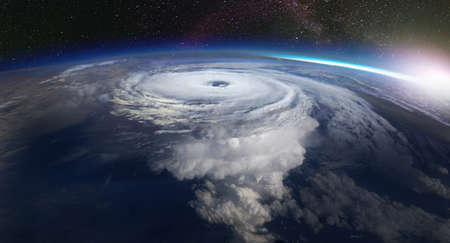 Giant hurricane seen from the space. Satellite view.