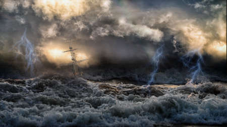 Silhouette of sailing old ship in stormy sea with lightning bolts and amazing waves and dramatic sky. Collage in the style of marine painters like Aivazovsky. Stockfoto