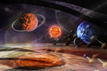 Particles of DNA strands flying through space to planets. Concept of the origin of life.