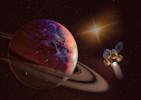 Spaceship on orbit of the Saturn planet. Exploration of the space. Sci-fi wallaper. Stockfoto