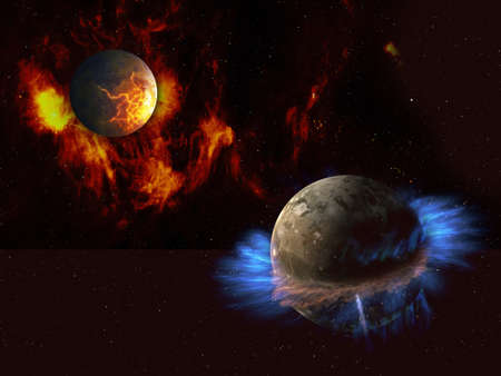 Two fantastic alien planets in deep space, red and blue.