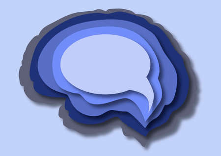 Stack of paper layers brain to speech cloud shape, with copy space, template for your text. Brainstorm opinion concept.