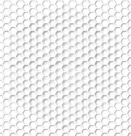 Honeycomb papercut style layered seamless pattern with 3d shadows.