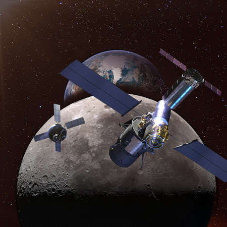 Spaceships in the space above the moon and earth far away in the night on the background. Stockfoto