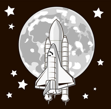 Space travel to the moon. Shuttle rocket launch. Space exploration concept.