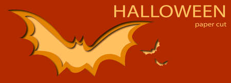 Halloween bat paper cut design. Place your own text instead.