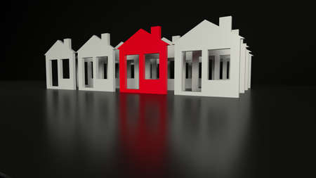 Red cozy house in front of group of white houses on black background with reflections. Real estate investment concept. Side view with copy cpace. 3d render illustration. Stockfoto