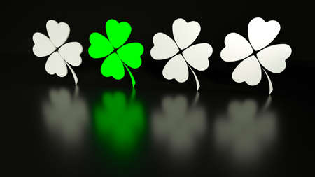 Four traditional Patrick leaf clover, white and green, on black background with reflections. 3d render illustration. Stockfoto