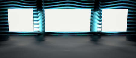 Blank picture frames on gray wall with rows of neon glowing lamps, mock up. 3d render illustration.