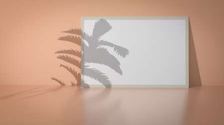 Rectangular frame background at the table near the wall with palm leaf shadow for display your projects. Blank for exhibit.