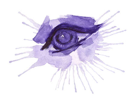 Eye made of splash, fashion and beauty concept. Hand drawn watercolor painting isolated on white background 写真素材