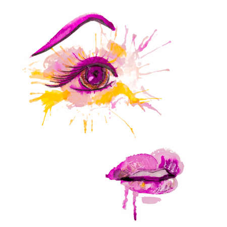 Beautiful woman face as a spots of eye and lips, hand drawn watercolor abstract fashion illustration isolated on white background. EPS10 vector.