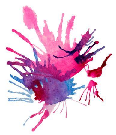 Realistic burst of a vivid purple and blue paints. Abstract transparent watercolor firework. White background.