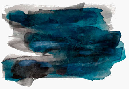 Textured black and blue watercolor paint brush stroke, eps 10 vector illustration isolated on white background.
