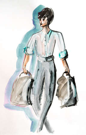 Watercolor hand drawn painting with a man with handbags.