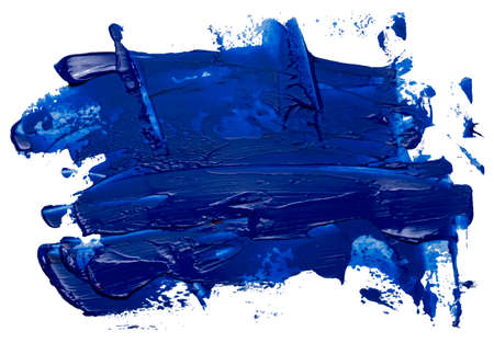 Hand drawn isolated oil paintbrush stripe with deep dirty blue color esp 10 vector illustration. Template for your text atop. Vetores