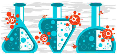 Coronavirus concept - viruses and flasks with vaccine. Three different vaccines. Layers are not flattened, you can use each element separately as an isolated group. Eps10 vector illustration.